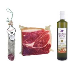 Packung Olivenöl Virgen Extra + 1/2 Salchichon + 1Kg Iberischer Schinken 100%