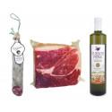 Pack Huile d'olive bouteille + 1/2 salchichon + 1Kg jambon ibérique 100%