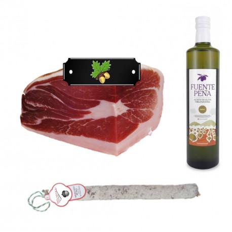 Pack Huile d'olive bouteille + 1/2 jambon ibérique label Noir + 1 Salchichon VELA