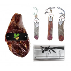 PACK Black Label Schinken+Packung mit 3 verschiedenen Halbstücken + Olivenöl Virgen Extra BIO