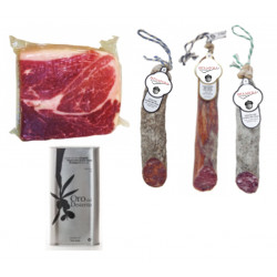PACK of three 1/2 unique pieces of Iberian sausage + 1kg Iberian ham + Virgin Olive Oil