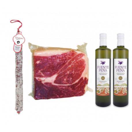 Pack 2 Huile d'olive bouteille + 1Kg jambon ibérique 100% + 1 Chorizo VELA