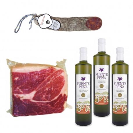 Packung mit 3 Olivenöl Virgen Extra + 1Kg Iberischer Schinken 100% + 1/2 Chorizo CULAR