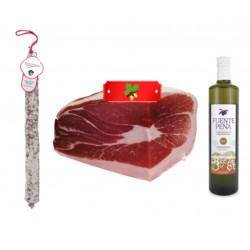 Lote Aceite de Oliva Extra + 1/4 Jamon Ibérico Etiqueta Roja + Chorizo VELA