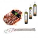 Pack Huile d'olive bouteille + Salchichon VELA + Jambon Serrano