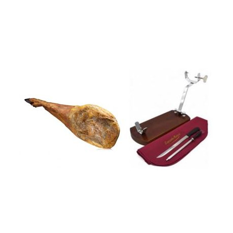 Pack Green label Jamón Ibérico Dry HAM with BONE+Support base and Knife