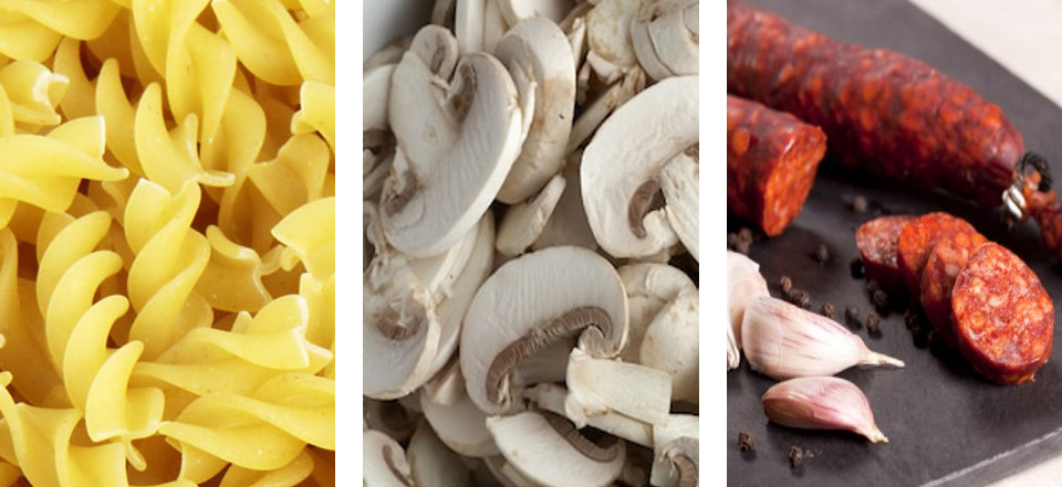 FUSILLI CHORIZO AND MUSHROOMS